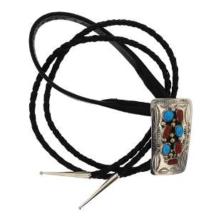 Turquoise & Coral Traditional Bolo Tie