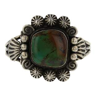 Navajo Turquoise Stamp Drop Bracelet