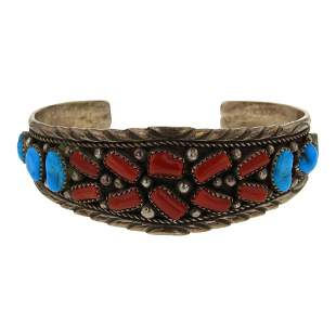 Vintage Pawn Freeform Coral & Turquoise Cuff Bracelet