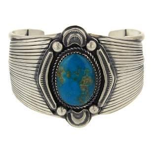 Robert Becenti Jr. Blue Ridge Turquoise Cuff Bracelet