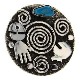Alex Sanchez Turquoise Petroglyphs Ring