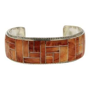 Richard Begay Spiny Oyster Inlay Cuff Bracelet