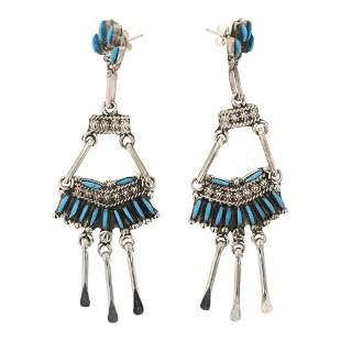 Vintage Turquoise Zuni Needlepoint Chandelier Earrings