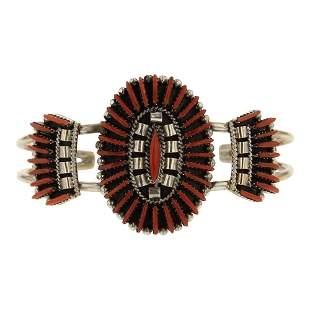 Edmund Cooeyate Zuni Needlepoint Coral Bracelet