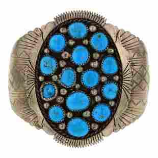 Old Pawn Kingman Turquoise Large Cuff Bracelet