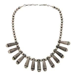 Geraldine Yazzie Plain Silver Beads Necklace