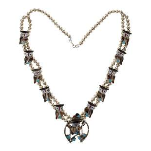 Pitkin Natewa Zuni Turquoise & Shell Inlay Owl Necklace
