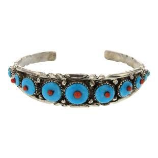 Virginia Quam Zuni Turquoise & Coral Bracelet