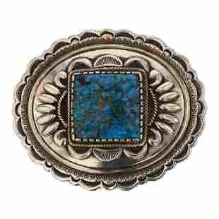 Stacey Gishal Spiderweb Kingman Turquoise Belt Buckle