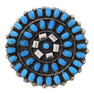 Turquoise Zuni Cluster Pin & Pendant