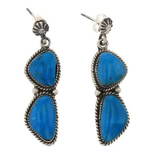 Turquoise Stamp Twist Wire Earrings