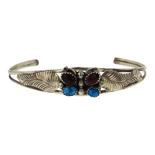 Purple Spiny Oyster & Turquoise Butterfly Bracelet