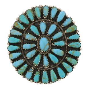 Vintage Pawn Cluster Turquoise Ring