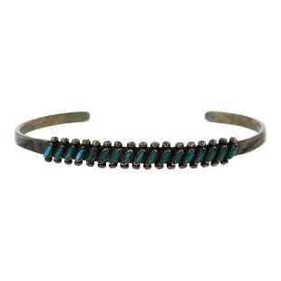 Vintage Pawn Turquoise Needlepoint Bracelet