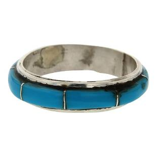 Turquoise Channel Inlay Zuni Ring
