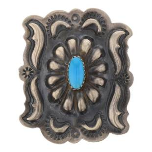 Turquoise Concho Stamp Ring
