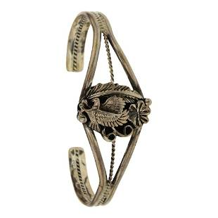 Navajo Plain Silver Eagle Bracelet