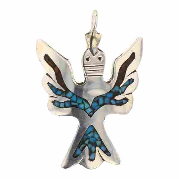 Turquoise & Coral Chip Inlay Thunderbird Pendant