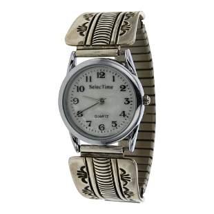 Bruce Morgan Navajo Plain Silver Watch Bracelet