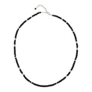 Navajo Strung Roundel Beads Black Onyx Silver &