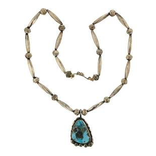 Old Pawn Nevada Turquoise Fluted & Bench Beads Necklace