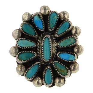 Old Pawn Vintage Turquoise Cluster Ring