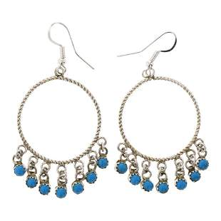 Turquoise Twist Wire Dangle Hoop Earrings