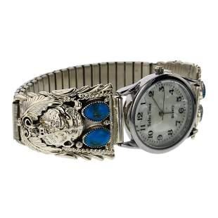 Kingman Turquoise Bear Watch Bracelet