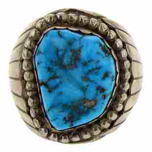 Vintage Pawn Sleeping Beauty Turquoise Men's Ring