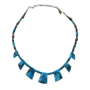 Santo Domingo Carved Turquoise Necklace
