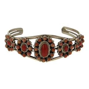 Navajo Coral Cluster Bracelet
