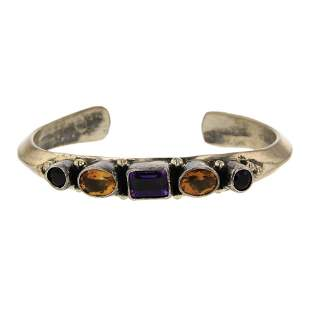 Paul Livingston Amethyst & Citrine Faceted Cuff
