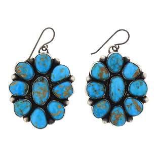 Beatty Tom Kingman Turquoise Cluster Earrings