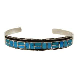 Vintage Inlay Turquoise Cuff Bracelet