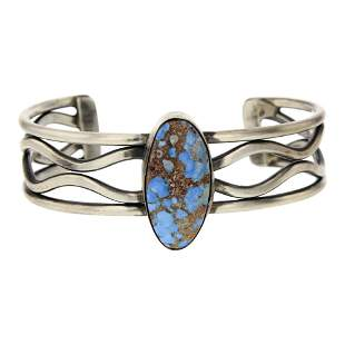 Navajo Contemporary Golden Hill Turquoise Wire Bracelet