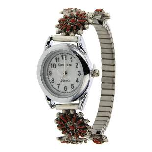 VSJ Zuni Coral Needlepoint Watch Bracelet