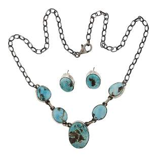 Peggy Skeets Nevada Turquoise Necklace & Earrings Set