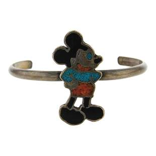 Vintage Pawn Turquoise & Coral Chip Inlay Mikey Mouse