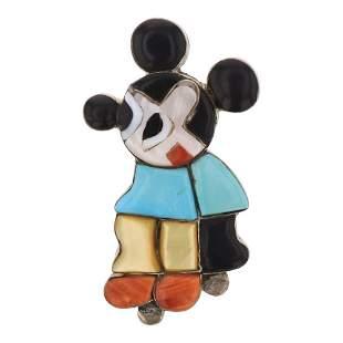 Vintage Pawn Zuni Original Inlay Mickey Mouse Pin &