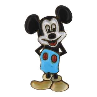 Vintage Pawn Zuni Inlay Turquoise & Coral Mickey Mouse