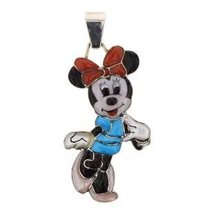 Don Dewa Zuni Inlay Full Minnie Mouse Pendant