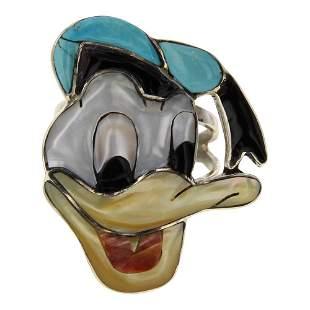 Don Dewa Zuni Inlay Turquoise & Shell Donald Duck Ring
