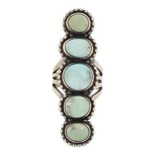Mark Yazzie Elongated Turquoise Ring