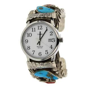 Vintage Pawn Turquoise 7 Coral Watch Bracelet