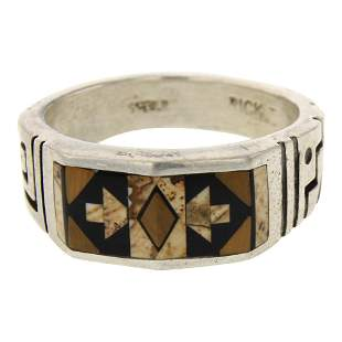Navajo Inlay Jasper & Tiger's Eye Ring