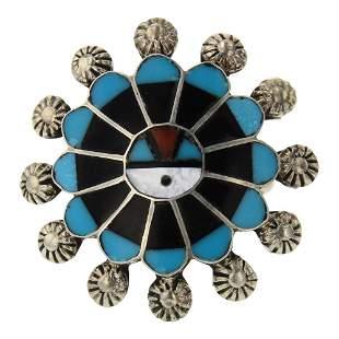 Zuni Inlay Turquoise Ring