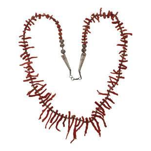 Vintage Coral Branch Bench Beads Necklace