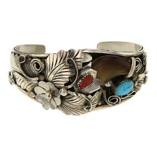 Jack Tom Turquoise & Coral Bear Claw Cuff Bracelet