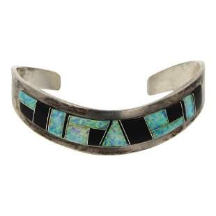 Jimmy Secatero Black Onyx & Synthetic Opal Bracelet
