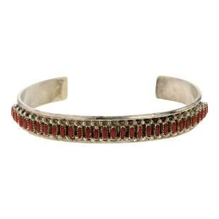 Zuni Needlepoint Coral Row Cuff Bracelet